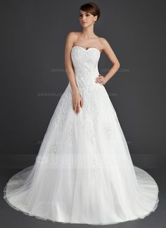 Wedding Dresses - $224.99 - Ball-Gown Sweetheart Chapel Train Satin Tulle Wedding Dress With Lace (002011656) http://jjshouse.com/Ball-Gown-Sweetheart-Chapel-Train-Satin-Tulle-Wedding-Dress-With-Lace-002011656-g11656