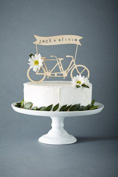 Your small wedding cake will make a big statement with this bicycle cake topper! Wedding Cake Prices, Floral Wedding Cakes, Wedding Cupcakes, Bicycle Cake, Bike Cakes, 7 Cake, Bicycle Wedding, Toronto, Custom Wedding Cake Toppers