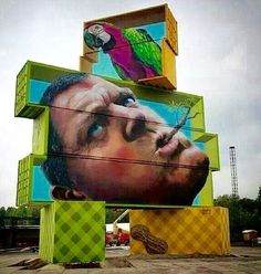 An intriguing set of brightly painted street art blocks created by artist: Martin Ron, situated in Werchter, Belgium, that formed part of an in-situ sculptural exhibition. ♥♥♥