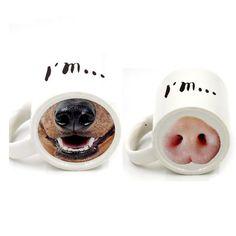 Cartoon Ceramic Coffee Mug Funny Milk Tea Cups and Cups Pig Nose Dog Nose Creative White Mugs  Zakka Home Drinkware Unique Gift