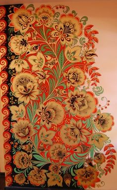 View album on Yandex. Folk Art Flowers, Flower Art, Painting Flowers, Embroidery Designs, Folk Embroidery, Folk Print, Russian Folk Art, Paisley, Mexican Art
