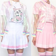 Kawaii koko pink tennis skirt with striped - # Source by Poprockgirl clothes Harajuku Fashion, Kawaii Fashion, Lolita Fashion, Cute Fashion, Fashion Outfits, Gothic Fashion, Harajuku Girls, 90s Fashion, Fashion Styles