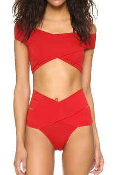 Iyasson Red Off-shoulder High-waisted Fit Bikini - Bikinis Summer Swimwear, Bikini Swimwear, Trendy Swimwear, Bikini Fitness, Bikini Workout, Red Bikini Set, Red Swimsuit, High Waist Swimsuit, Off The Shoulder Swimsuit