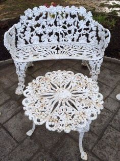 Items similar to Cast iron furniture seating set sofa bench loveseat settee 2 chairs table paired 4 pc ornate grape leaf motif seasonal nomadic living room on Etsy Cast Iron Garden Furniture, Outdoor Living Furniture, Pallet Garden Furniture, Iron Furniture, Patio Furniture Sets, Furniture Ideas, Outdoor Sofa, Outdoor Decor, Wrought Iron Bench