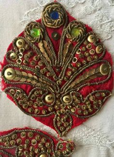 Four Antique 19th Century Zardozi Bejewelled Gold Bullion Embroidery on Ruby Red Silk Velvet Appliques Very Rare Find! For Projects!