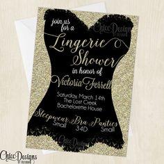 Lingerie Shower Invitation - Gold Glitter Color - Bachelorette Party - Invitation - Corset Design - Digital/Printable Design