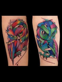 Daniel Farren made these gorgeous watercolor, sketchy looking owls as a couple tattoo last year. The clients originally just wanted matching owls, but Daniel sat down with them and they explored the idea further and came up with these complimentary couples tattoo!