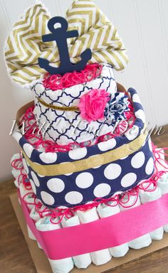 Nautical Metallic Gold, Navy Dots & Pink  3-Tier Square Diaper Cake or Shower Centerpiece