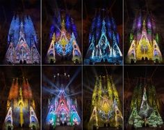 "The Basilica Sagrada Familia is illuminated during the ""Montreal Signe Ode a la Vie"" light show by Canadian company Moment Factory as part of the Merce Festival in Barcelona, Spain, Friday, Sept. 21, 2012. (AP Photo/Manu Fernandez)"