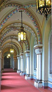 Neuschwanstein Castle hallway -- I can imagine Ludwig II pacing these halls during his final days.