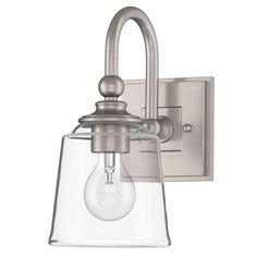Buy the Miseno Brushed Nickel Direct. Shop for the Miseno Brushed Nickel Waveland Single Light Tall Bathroom Sconce and save. Bathroom Light Bulbs, Bathroom Sconce Lighting, Modern Sconces, Bathroom Sconces, Widespread Bathroom Faucet, Amazing Bathrooms, Clear Glass, Brushed Nickel, Master Bath
