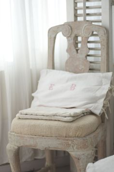 Antique chair, pillow cover