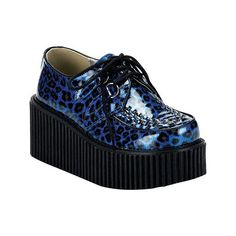 Women's Demonia Creeper 208 - Blue Cheetah Glitter Casual ($52) ❤ liked on Polyvore featuring shoes, blue cheetah glitter, cheetah print shoes, oxford shoes, vintage style shoes, cheetah shoes and high heel platform shoes