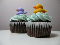 Cute rubber ducky cupcake toppers...great for a baby shower.