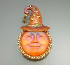 Kirks Folly Orange Glass Seaview Moon Brooch Pin Enhancer Pendant AB Rhinestones #KirksFolly Elephant World, Moon Jewelry, Jewelry Box, Elephant Pictures, Halloween Moon, Sun Moon Stars, Halloween Jewelry, Moon Art, Summer Of Love