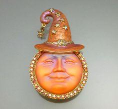 Kirks Folly Orange Glass Seaview Moon Brooch Pin Enhancer Pendant AB Rhinestones #KirksFolly