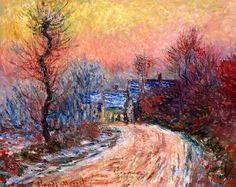 Coming into Giverny in Winter, Sunset Claude Monet (1885)