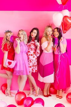 Galentine's Day Party Galentines Theme Valentines Pink Red Color Colour Scheme Fun Girlie Hen Party Bachelorette Heart Bridal Shower Pink Bachelorette Party, Bachelorette Outfits, Day Party Outfits, Bridal Outfits, Valentine Theme, Valentines Day Party, Valentines Outfits, Shower Outfits, Pink Parties