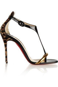 Christian Louboutin Athena Alta 100 leopard-print and patent-leather sandals | NET-A-PORTER