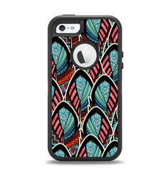 The Intense Colorful Peacock Feather Apple iPhone 5-5s Otterbox Defender Case Skin Set