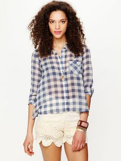 Free People Sweet Spring Gingham Buttondown, $88.00