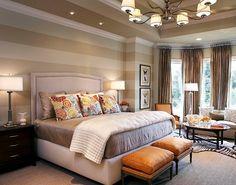 papel de parede com listras horizontais para quarto de casal