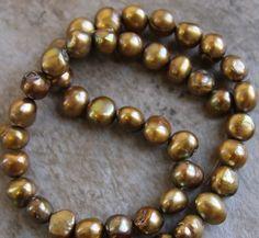 Gold Freshwater Pearls by BeadyEyedBird on Etsy, $18.00