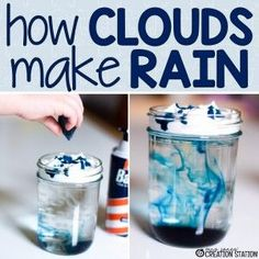 When rainy weather hits and you're stuck inside this simple science experiment is perfect for teaching little learners how clouds make rain.