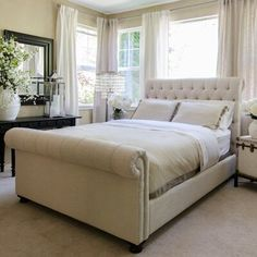 Elements Fine Home Furnishings Upholstered Sleigh Bed Size: California King Bedroom Sets, Home Bedroom, Bedroom Furniture, Bedroom Decor, King Furniture, Master Bedroom, Girls Bedroom, Glam Bedroom, Furniture Dolly