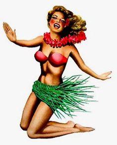 Hula girl Hula Girl Tattoos, Hawaii Tattoos, Vintage Surf, Vintage Tiki, Pin Up Pictures, Hawaii Style, Tiki Party, Calendar Girls, Island Girl