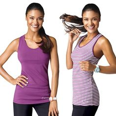 This pack of two fitted sleeveless racer-back tanks designed to fall at the hip features amazing lightweight wicking fabric. The Curves logo is positioned on the bottom of the front in silver. Each pack contains one purple and one white with purple stripes and trim. Regularly $20.00, buy Avon Fashion products online at http://eseagren.avonrepresentative.com