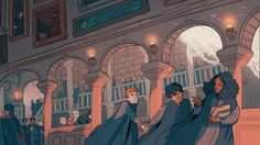 """sasmilledge: """"a harry potter print done to sell at conventions this year """" Arte Do Harry Potter, Fanart Harry Potter, Harry Potter Drawings, Harry Potter Universal, Harry Potter Fandom, Harry Potter World, Harry Potter Memes, Potter Facts, Hogwarts"""