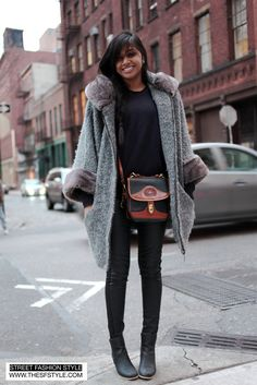 Vintage Dooney & Bourke + Winter Coat + Leather Pants - Prince & Crosby (NYC) New York     I TOTES HAVE THAT BAG! snatched from mom's closet in pristine condition.