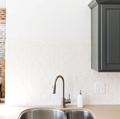 Kitchen update with some killer (in stock and cheap!!) hexagon tile from @homedepot on the blog today!! It would be a perfect project for the 3 day weekend! #fearlessDIY