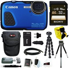 Canon PowerShot D30 Waterproof Digital Camera Blue  32GB SD HC Memory Card  Accessory Kit -- Read more at the image link.
