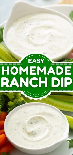 Your go-to appetizer recipe or snack idea for parties and get-togethers! This easy Ranch Dip comes together in minutes. Homemade with sour cream instead of buttercream, it is perfect for veggies, chips, and more! Homemade Ranch Dip, Homemade Ranch Seasoning, Homemade Ranch Dressing, Appetizer Recipes, Snack Recipes, Appetizers, Eating Vegetables, Veggies, Healthy Late Night Snacks