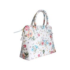 Serafina Italian White Floral Leather Dome Handbag - £54.99