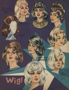 Vintage Hairstyles Retro 1962 Wig advertisement, Frederick's of Hollywood. Retro Hairstyles, Wig Hairstyles, Wedding Hairstyles, Homecoming Hairstyles, Party Hairstyles, 1960s Fashion, Vintage Fashion, Historical Hairstyles, 1960s Hair