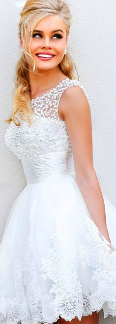 Ava Lace Short Wedding Dress: TheChicFind.com