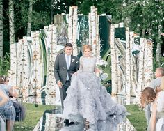 Mix in mirrors with giant flowers for underneath the trees? Wedding Goals, Wedding Story, Wedding Events, Themed Weddings, White Wedding Dresses, Blue Wedding, Dream Wedding, Wedding Theme Design, Wedding Designs