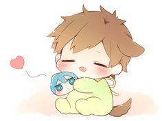 Haju zzzzz.  Makoto happy with his Haru squishy bean ...  From nrmimi_ ... Free! - Iwatobi Swim Club, free!, iwatobi, squishy bean, makoto, tachibana, makoto tachibana, dog, puppy