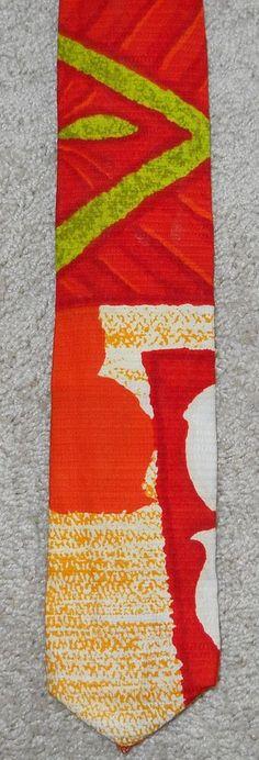 Vintage Kanaka Hawaiian Neck Tie Barkcloth Men's Red Orange Green Cotton #Kanaka #NeckTie