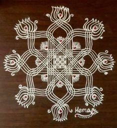 Simple Rangoli Designs Images, Rangoli Designs Flower, Rangoli Designs With Dots, Rangoli With Dots, Beautiful Rangoli Designs, Kolam Designs, Rangoli Colours, Rangoli Patterns, Padi Kolam