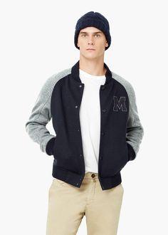 Blusão bomber lã -  Homem | MANGO