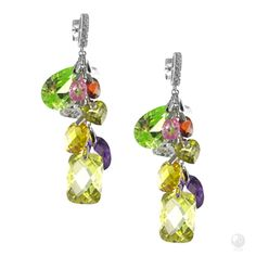 Hope Of Life Earrings - C$1,109 Exclusive FERI 950 Siledium silver - Exclusive dual natural rhodium and palladium plating - Set with exclusive FERI Swan cut lab stones - Colour: Silver - Cluster drop earrings with multi coloured stones - Red, purple, white, pink, green and yellow - Dimension: 51mm Length #earrings #jewelry #gifts  #Christmas #fashion #Mothers Day