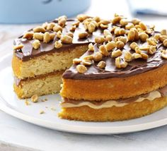 Peanut Butter cake | BBC Good Food - will be trying this recipe tomorrow for my brother's birthday cake.. hope it's as yummy as it looks