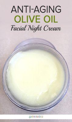 DIY Anti-Aging Olive Oil Facial Night Cream #AntiAgingTips