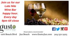 Another Saturday! It's March 04 2017 at 08:45PM Join us at Gusto's Late Night Wine Bar Happy Hour.