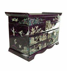 Grande boite à bijoux violette et décorations en nacre véritable design asie, artisanat Coréen. Nombreux rangements et miroir. Mykoreangift http://www.amazon.fr/dp/B00O24BYB4/ref=cm_sw_r_pi_dp_YqGyub0Z89XZ9
