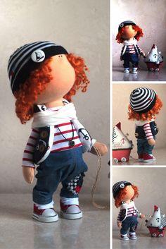 Boy doll Russian doll Winter doll Handmade doll Cloth doll Tilda doll Blue doll Textile doll Soft doll Fabric doll Art doll
